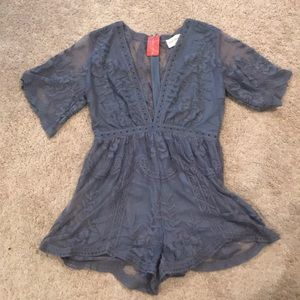 Dusty Blue Lace Romper